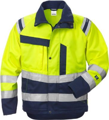 Fristads Ladies High Vis Jacket 4129 CL 3 PLU (Hi Vis Yellow/Navy)